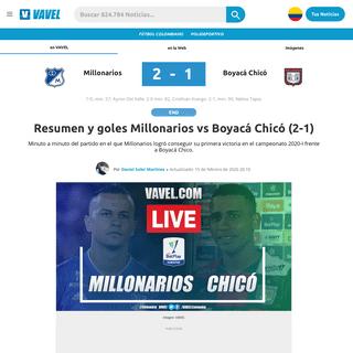 ArchiveBay.com - www.vavel.com/colombia/futbol-colombiano/2020/02/14/millonarios/1013696-millonarios-vs-boyaca-chico-en-vivo-y-en-directo-online-por-la-quinta-fecha-de-la-liga-betplay-2020-i.html - Resumen y goles Millonarios vs Boyacá Chicó (2-1) - 15-02-2020 - VAVEL Colombia