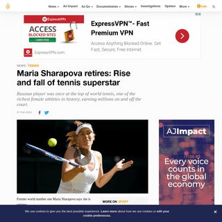 Maria Sharapova retires- Rise and fall of tennis superstar - News - Al Jazeera