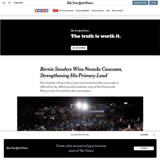 ArchiveBay.com - www.nytimes.com/2020/02/22/us/politics/bernie-sanders-nevada-caucus.html - Bernie Sanders Wins Nevada Caucuses, Strengthening His Primary Lead - The New York Times