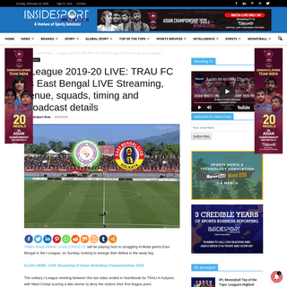 I-League 2020 LIVE- When and Where to watch TRAU FC vs East Bengal LIVE Streaming, venue, squads, timing