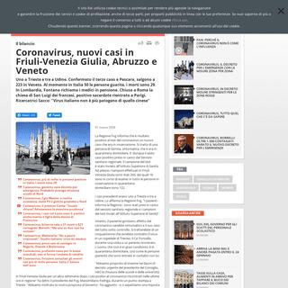 Coronavirus, nuovi casi in Friuli-Venezia Giulia, Abruzzo e Veneto - Rai News