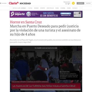 Marcha en Puerto Deseado para pedir justicia por la violación de una turista y el asesinato de su hijo de 4 años - Clarín
