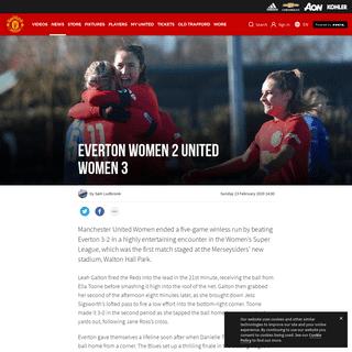 Women's Super League match report Everton v Man Utd - Manchester United