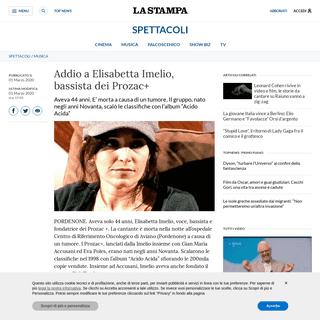 Addio a Elisabetta Imelio, bassista dei Prozac+ - La Stampa