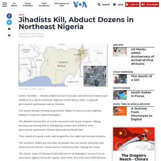 Jihadists Kill, Abduct Dozens in Northeast Nigeria - Voice of America - English