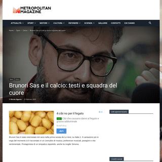 Brunori Sas e il calcio- testi e squadra del cuore - Metropolitan Magazine