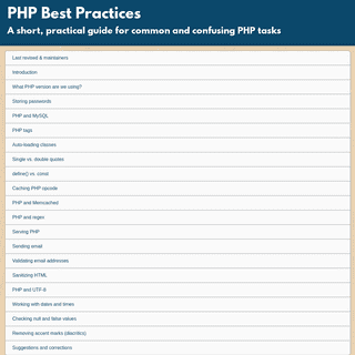 PHP Best Practices- a short, practical guide for common and confusing PHP tasks