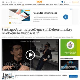 Santiago Artemis reveló que sufrió de ortorexia y reveló qué lo ayudó a salir - VOS