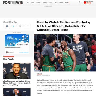 Celtics vs. Rockets Live Stream- TV Channel, How to Watch