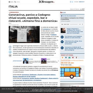 Coronavirus, panico a Codogno- chiusi scuole, ospedale, bar e ristoranti. «Almeno fino a domenica»