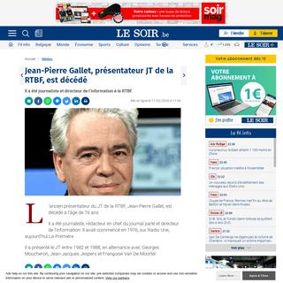 Jean-Pierre Gallet, présentateur JT de la RTBF, est décédé - Le Soir