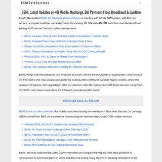 BSNL Latest Updates on 4G Mobile, Recharge, Bill Payment, Fiber Broadband & Landline