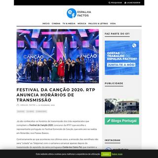 Festival da Canção 2020. RTP anuncia horários de transmissão