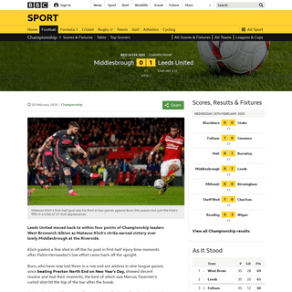 Middlesbrough 0-1 Leeds United- Mateusz Klich strike keeps pressure on Championship leaders West Brom - BBC Sport