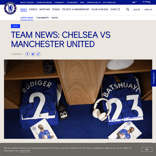Team news- Chelsea vs Manchester United - Official Site - Chelsea Football Club