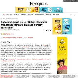 Bheeshma movie review - Nithiin, Rashmika Mandanna's romantic drama is a breezy entertainer- Entertainment News, Firstpost