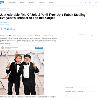 ArchiveBay.com - www.scoopwhoop.com/entertainment/jojo-and-yorki-from-jojo-rabbit-stealing-thunder-at-oscars-red-carpet/ - Just Adorable Pics Of Jojo & Yorki From Jojo Rabbit Stealing Everyone's Thunder At The Red Carpet