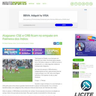 Alagoano- CSE e CRB ficam no empate em Palmeira dos Índios - Futebol