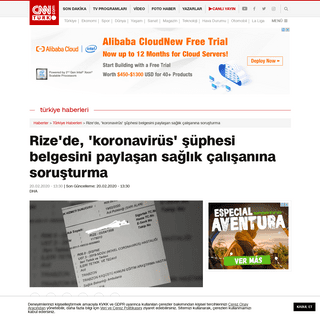 ArchiveBay.com - www.cnnturk.com/turkiye/rizede-koronavirus-suphesi-belgesini-paylasan-saglik-calisanina-sorusturma - Rize'de, 'koronavirüs' şüphesi belgesini paylaşan sağlık çalışanına soruşturma - Günün Haberleri