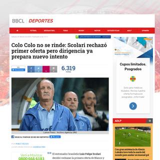Colo Colo no se rinde- Scolari rechazó primer oferta pero dirigencia ya prepara nuevo intento - Fútbol - BioBioChile