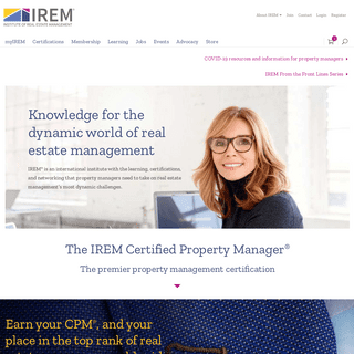 International institute with the learning, certifications, and networking for real estate property managers - IREM