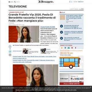ArchiveBay.com - www.ilmessaggero.it/televisione/gf_vip_paola_di_benedetto_fede_tradimento_news-5053074.html - Grande Fratello Vip 2020, Paola Di Benedetto racconta il tradimento di Fede- «Non mangiavo più»