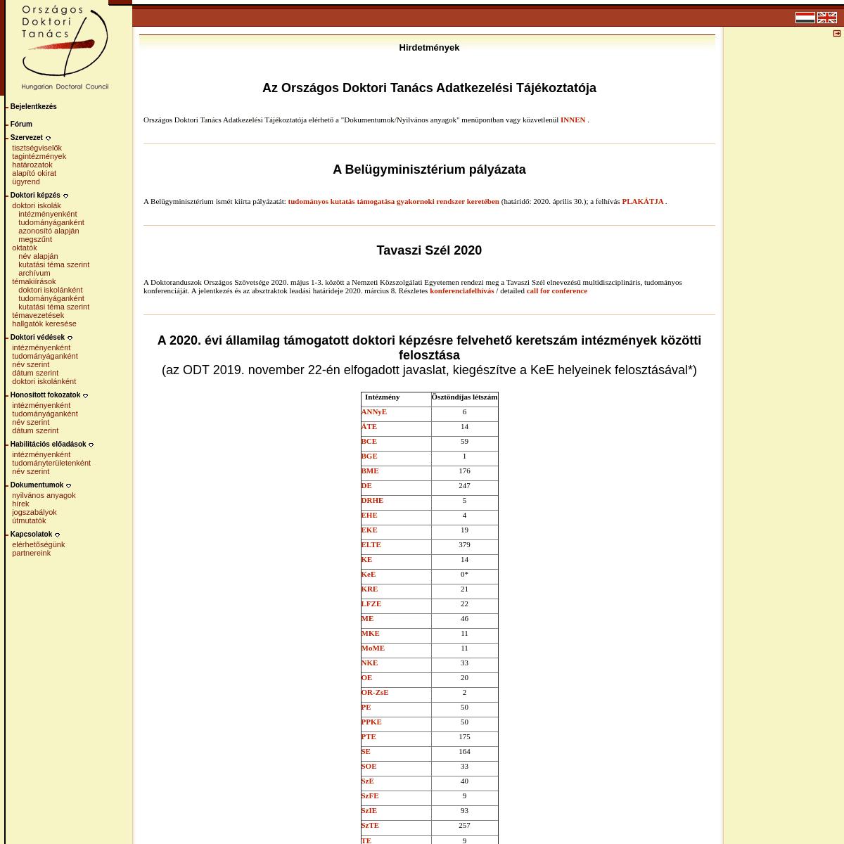 ArchiveBay.com - doktori.hu - ODT hír- 2020.02.25 Hirdetmények