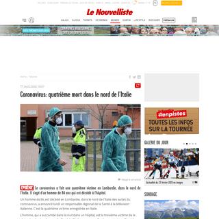 Coronavirus- quatrième mort dans le nord de l'Italie