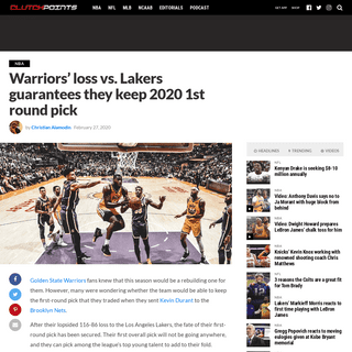 ArchiveBay.com - clutchpoints.com/warriors-news-dubs-loss-vs-lakers-guarantees-they-keep-2020-1st-round-pick/ - Warriors news- Dubs loss vs. Lakers guarantees they keep 2020 1st round pick