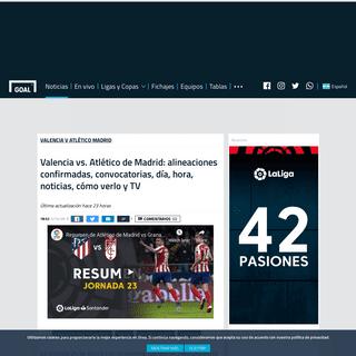 ArchiveBay.com - www.goal.com/es-ar/noticias/valencia-vs-atletico-de-madrid-alineaciones-confirmadas/1r3l502go0c4513zyuucrbcqbz - Valencia vs. Atlético de Madrid- alineaciones confirmadas, convocatorias, día, hora, noticias, cómo verlo y TV - Goal.com