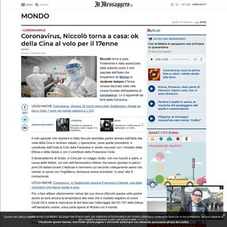 ArchiveBay.com - www.ilmessaggero.it/mondo/coronavirus_ultime_notizie_niccolo_italiano_ragazzo_17_anni_cina_aereo-5048776.html - Coronavirus, Niccolò torna a casa- ok della Cina al volo per il 17enne