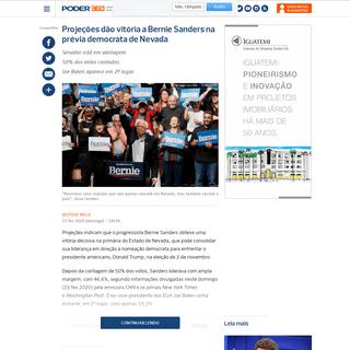 Projeções dão vitória a Bernie Sanders na prévia democrata de Nevada - Poder360