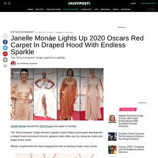 Janelle Monáe Lights Up 2020 Oscars Red Carpet In Draped Hood With Endless Sparkle - HuffPost
