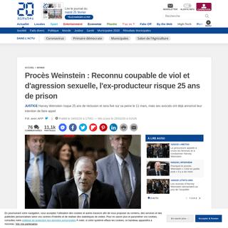 Procès Weinstein - Reconnu coupable de viol et d'agression sexuelle, l'ex-producteur risque 25 ans de prison