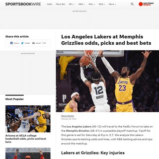 Los Angeles Lakers at Memphis Grizzlies odds, picks and best bets
