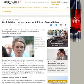 """""""Be A Lady They Said""""-Video- Cynthia Nixon prangert widersprüchliches Frauenbild an - Panorama - Stuttgarter Zeitung"""