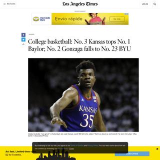 No. 3 Kansas tops No. 1 Baylor; No. 23 BYU stuns No. 2 Gonzaga - Los Angeles Times