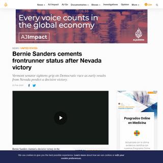 Bernie Sanders cements frontrunner status after Nevada victory - USA News - Al Jazeera