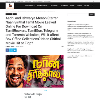 ArchiveBay.com - thenewscrunch.com/aadhi-and-ishwarya-menon-starrer-naan-sirithal-tamil-movie-leaked-online-for-download-on-tamilrockers-tamilgun-telegram-and-torrents-websites-will-it-affect-box-office-collections-naan-sirithal-mo/16207/ - Aadhi and Ishwarya Menon Starrer Naan Sirithal Tamil Movie Leaked Online For Download On TamilRockers, TamilGun, Telegram and To