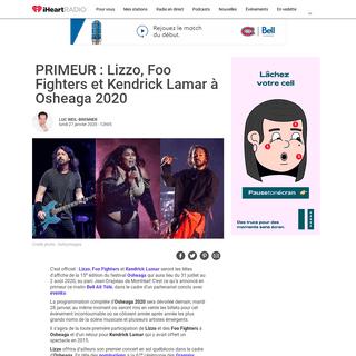 PRIMEUR - Lizzo, Foo Fighters et Kendrick Lamar à Osheaga 2020
