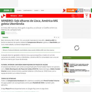 MINEIRO- Sob olhares de Lisca, América-MG goleia Uberlândia