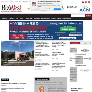 BizWest – Business news, data and economic statistics for the Boulder Valley and Northern Colorado