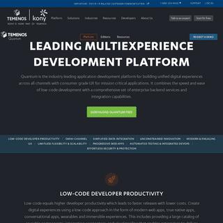Temenos Quantum - Multiexperience Development Platform for Omni-channel App Development