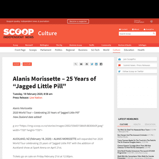"""ArchiveBay.com - www.scoop.co.nz/stories/CU2002/S00164/alanis-morissette-25-years-of-jagged-little-pill.htm - Alanis Morissette – 25 Years of """"Jagged Little Pill- - Scoop News"""