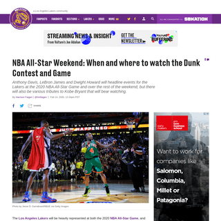 NBA All-Star Game- Where to watch the Dunk Contest, Game, Kobe tributes - Silver Screen and Roll