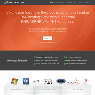ColdFusion Hosting - Award winning cloud based websites - BMCHosting