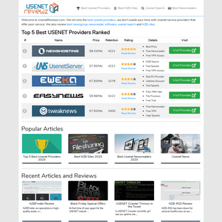 UsenetReviewz.com - Best USENET providers, NZB sites and software reviewed