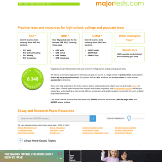 majortests.com - Practice tests and resources for high school, college and graduate tests