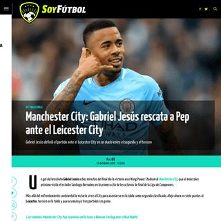 Manchester City- Gabriel Jesús rescata a Pep ante el Leicester City - Soy Fútbol
