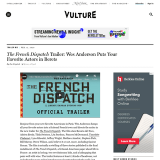 Wes Anderson's The French Dispatch Trailer- [WATCH]